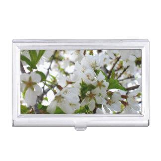 Étui Pour Cartes De Visite Fleurs blanches
