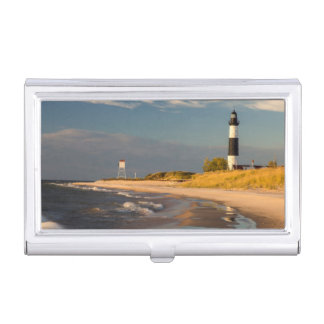 Étui Pour Cartes De Visite Grand phare de point de sable sur le lac Michigan
