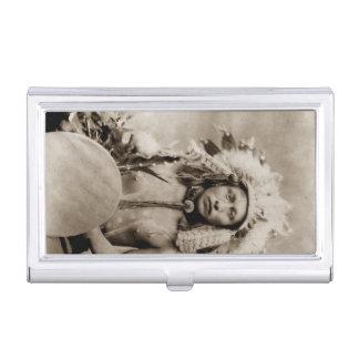 Étui Pour Cartes De Visite Indigène vintage indien du Dakota d'élans