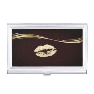 Étui Pour Cartes De Visite Lèvre scintillante d'Or élégant élégant
