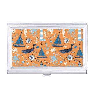 Étui Pour Cartes De Visite Orange nautique d'océan