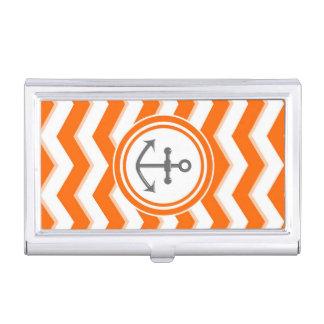 Étui Pour Cartes De Visite Sourire orange d'ancre de motif de zigzag de