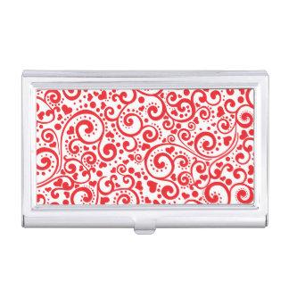 Étui Pour Cartes De Visite Valentines - coeurs rouges et remous sans couture