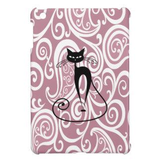 Étuis iPad Mini Chat noir d'amusement gai adorable doux paisly