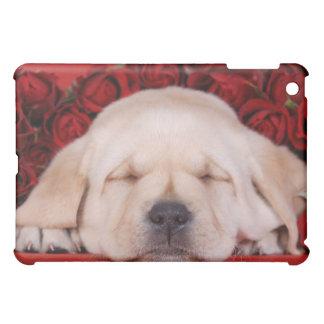 Étuis iPad Mini Chiot de Labrador dormant dans les roses rouges