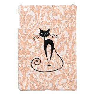 Étuis iPad Mini Cru gai adorable de damassé de chat noir de charme