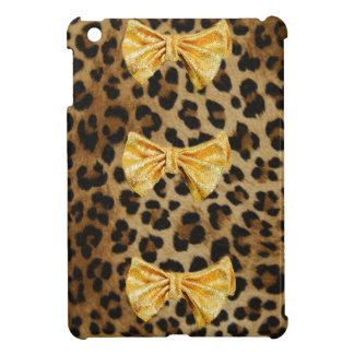 Étuis iPad Mini Empreinte de léopard Girly avec des arcs de Bling