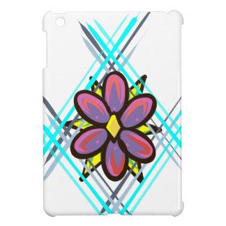 Étuis iPad Mini Fleur rose et pourpre avec l'arrière - plan bleu