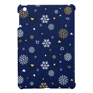 Étuis iPad Mini Or de Joyeux Noël et flocons de neige blancs