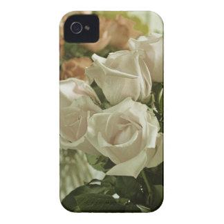 Étuis iPhone 4 Copie vintage de roses blancs de style