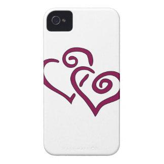 Étuis iPhone 4 Double coeur marron