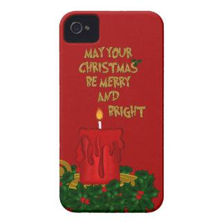 Étuis iPhone 4 Joyeuse bougie lumineuse de Noël, 4 Rouges-iPhone