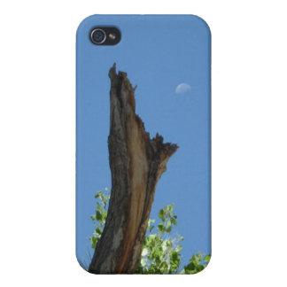 Étuis iPhone 4 Lune au-dessus d'arbre brûlé Rising_singles_blue