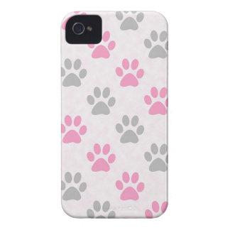 Étuis iPhone 4 Motif rose et gris de pattes de chiot