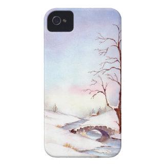 Étuis iPhone 4 Peinture de paysage d'aquarelle de pont de Milou