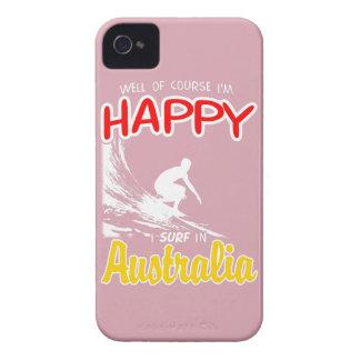 Étuis iPhone 4 Surfer heureux AUSTRALIE (blanche)