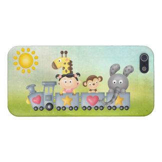 Étuis iPhone 5 Animaux et fille mignons sur le train