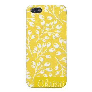 Étuis iPhone 5 Baies jaunes mignonnes d'automne