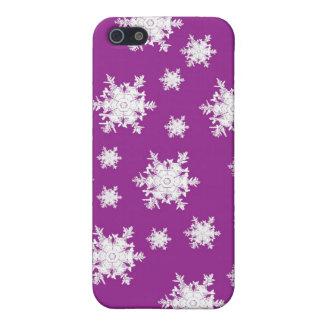 Étuis iPhone 5 Blanc sur la conception pourpre de flocon de neige
