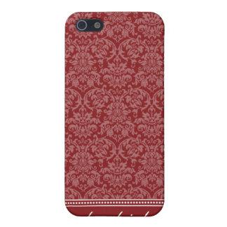 Étuis iPhone 5 Cas de l'iPhone 4 de motif de damassé (rouge)