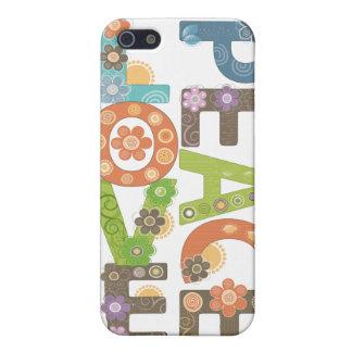 Étuis iPhone 5 Cas floral de l'iPhone 5 d'amour et de paix