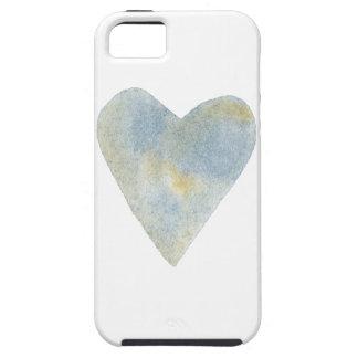 Étuis iPhone 5 Coeur ocre bleu d'aquarelle