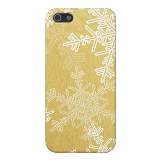 Étuis iPhone 5 Flocons de neige Girly de Noël d'or et blanc