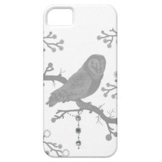Étuis iPhone 5 Hibou gris, blanc, nature, branches