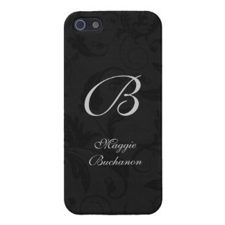 Étuis iPhone 5 Noir classique dans une copie de damassé avec le