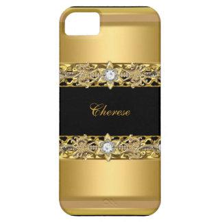 Étuis iPhone 5 or floral noir de Faux d'iPhone
