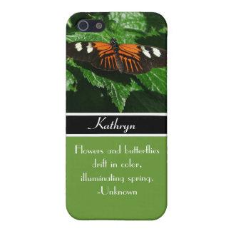 Étuis iPhone 5 Papillon orange et noir+Citation de nature+Nom