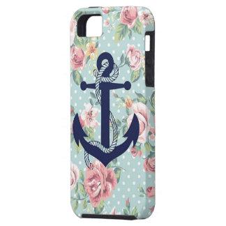 Étuis iPhone 5 Point de polka floral bleu avec l'ancre