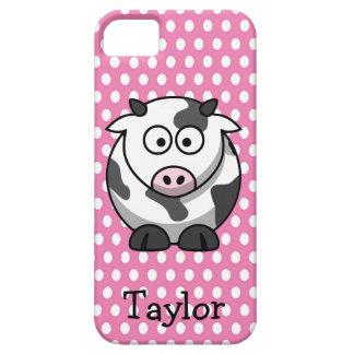 Étuis iPhone 5 Point de polka rose personnalisé par vache drôle