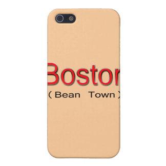 Étuis iPhone 5 Rouge de Boston (ville d'haricot)