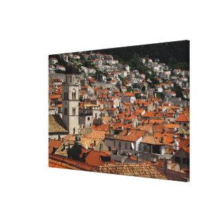 Europa, Kroatië. Middeleeuwse ommuurde stad van Canvas Afdrukken
