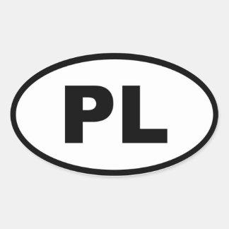 Européen de la Pologne PL Sticker Ovale