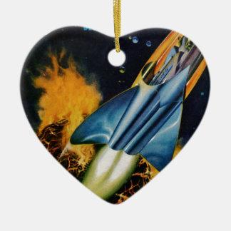 Évasion de la planète de explosion ornement cœur en céramique