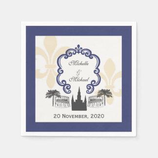 Événement bleu de mariage de la Nouvelle-Orléans Serviettes Jetables