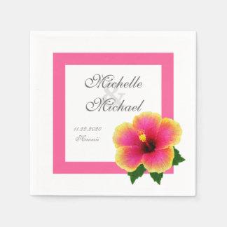 Événement de mariage de fleur de ketmie serviettes en papier
