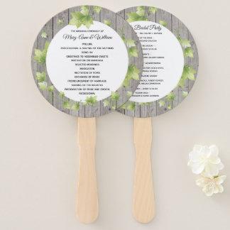 Éventail Fan rustique de programme de mariage en bois et de
