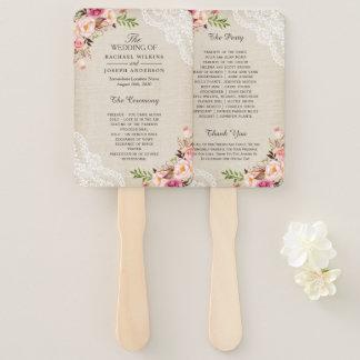 Éventail Programme floral de mariage de toile de jute de