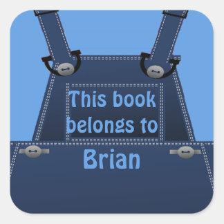 Ex-libris bleu folklorique de coutume de façon sticker carré