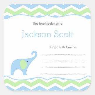 Ex-libris de baby shower d'éléphant de vert bleu, sticker carré