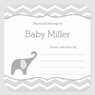 Ex-libris gris de baby shower d'éléphant, neutre sticker carré
