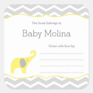 Ex-libris jaune de baby shower d'éléphant, neutre sticker carré