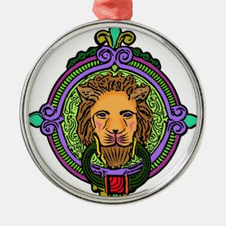 Exclusivité d'art de lion ornement rond argenté