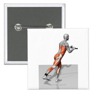 Exercice de patineur de câble badge carré 5 cm