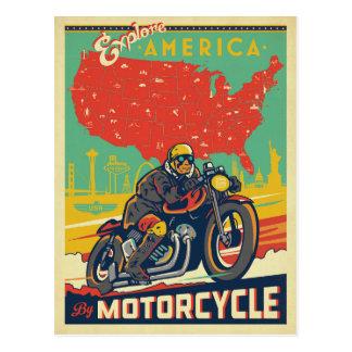Explorez l'Amérique en la moto Carte Postale