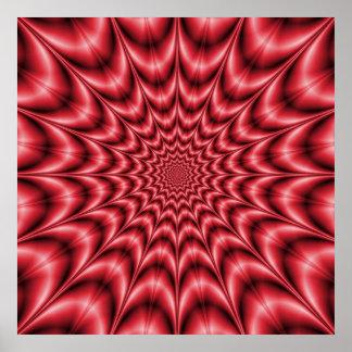 Explosion psychédélique en affiche rouge