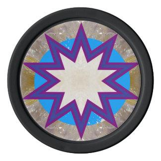 Exposition pourpre d'étoile d'étincelle de jetons rouleau de jetons de poker